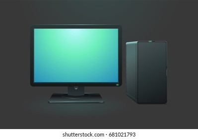 Black computer with monitor on dark background