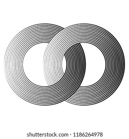 black concentric lines with different thickness that makes a two intersected rings. abstract halftone geometric shapes. suitable for logo, product branding etc.