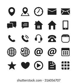 Black Contact Mobile Icon Set