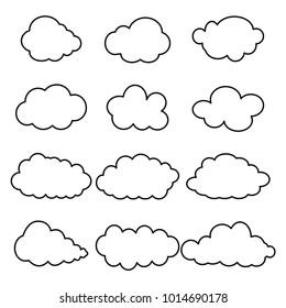 Black contour clouds set. Weather. Sky background - vector