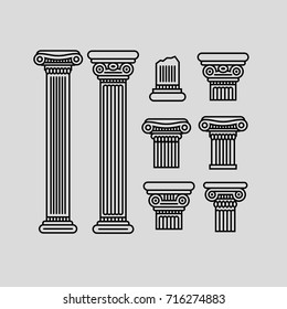 Black contour columns and parts of columns on a gray background