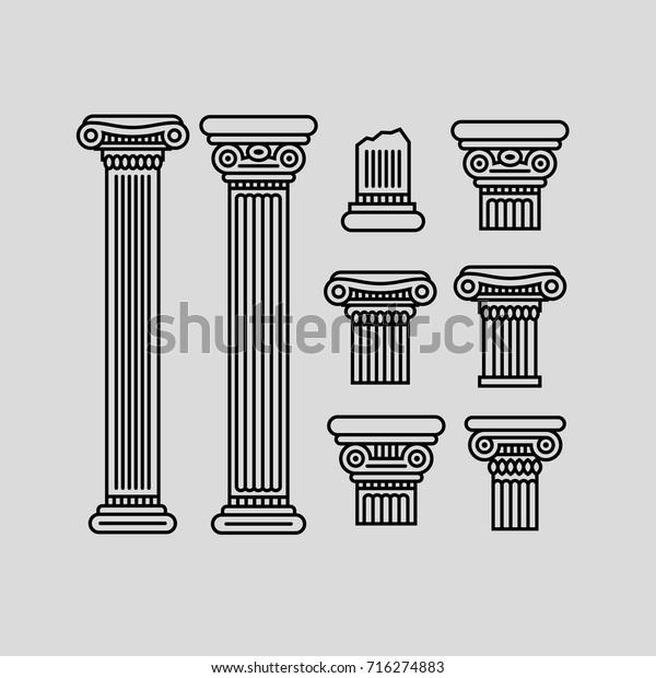 Parts Of A Column >> Black Contour Columns Parts Columns On Stock Vector Royalty