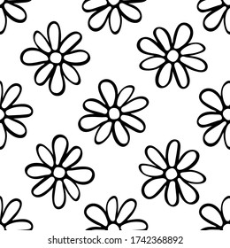 Black contour daisy flowers isolated on white background. Childish cute seamless pattern. Hand drawn vector graphic illustration. Texture.