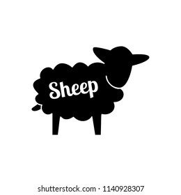 Black contour farm sheep icon with white lettering isolated on white background. Outline sheep logo for web, mobile and infographics. Vector farming animal product