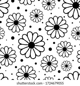 Black contour flowers isolated on white background. Floral ink seamless pattern. Hand drawn vector graphic illustration. Texture.