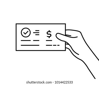 black contour hand holding bank check. concept of global electronic banking or paycheck in woman arm or prize bonus. flat linear modern manager logo graphic art design isolated on white background