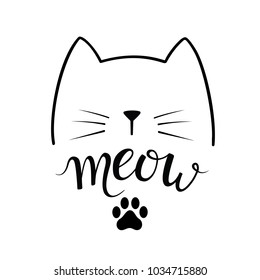 Black contour of head of Cat with lettering word 'Meow' and paw print on white background. Modern brush calligraphy. Cute vector illustration.