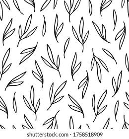 Black contour leaves seamless pattern on white background. Сover for eco, organic, vegan design. Vector illustration.