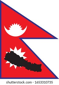 Black contour map of Nepal on national flag background
