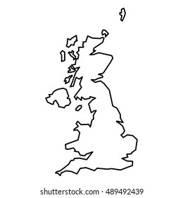 Black contour map of United Kingdom