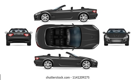 Black convertible car vector mockup on white for vehicle branding, corporate identity. View from side, front, back, and top. All elements in the groups on separate layers for easy editing and recolor.