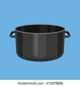 Black cooking pot, empty black saucepan. Vector illustration
