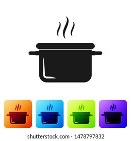 Black Cooking pot icon isolated on white background. Boil or stew food symbol. Set icon in color square buttons. Vector Illustration