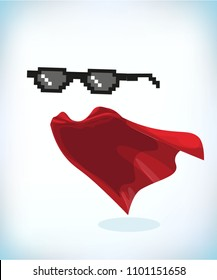 black cool glasses. Masquerade costume. Carnival or Halloween Cartoon Vector illustration. Funny super hero flying with cloak. Funny super hero flying with cloak.