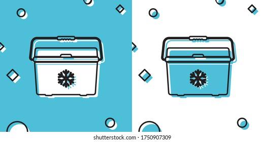 Black Cooler bag icon isolated on blue and white background. Portable freezer bag. Handheld refrigerator. Random dynamic shapes. Vector Illustration