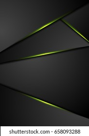 Black corporate background with green glowing lines. Vector design