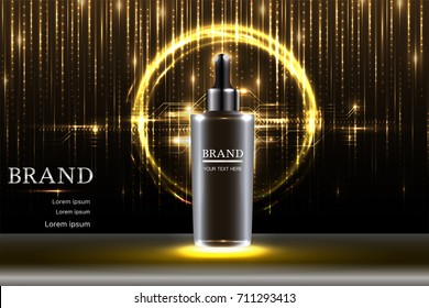 Black cosmetic container with advertising background ready to use, luxury skin care ad design. Illustration vector