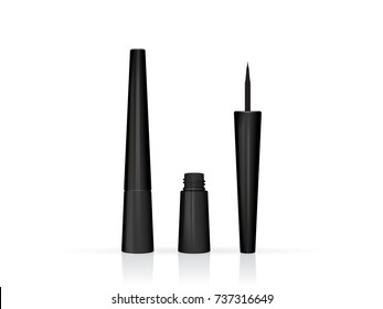 black cosmetic eyeliner is easy to change colors vector mock up template