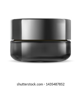 Black Cosmetic Jar. Glass Cream Packaging Mockup with Plastic Lid Isolated on White Background. Clean Pot Package for Luxury Treatment. Facial Creme or Mask Pot