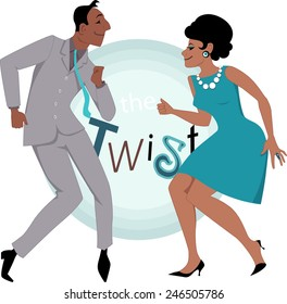 Black couple, dressed in late 1950s early 1960s fashion dancing twist, vector illustration, no transparencies, EPS 8