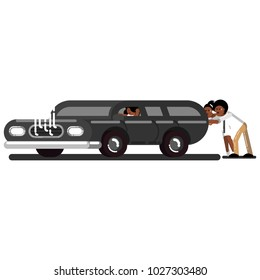 Black couple pushes the broken car