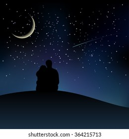 Black couple silhouettes sitting on the hill and watching starry sky. Vector illustration