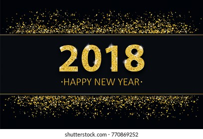 Black cover with black banner and golden sand with golden text 2018 Happy New Year. Eps 10 vector file.