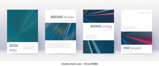 Black cover design template set. Orange abstract lines on wine red background. Admirable cover design. Likable catalog, poster, book template etc.