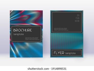 Black cover design template set. Red abstract lines on white blue background. Amusing cover design. Divine catalog, poster, book template etc.