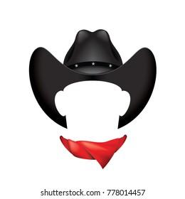 Black cowboy hat and scarf - vector illustration