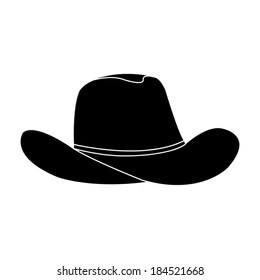 black cowboy hat - vector icon