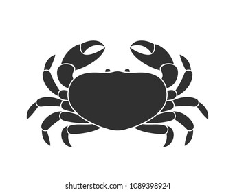 Black crab. Logo. Isolated crab on white background