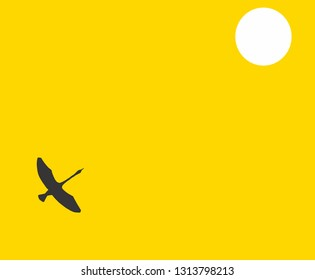 black crane silhouette on yellow background flying to the white sun vector