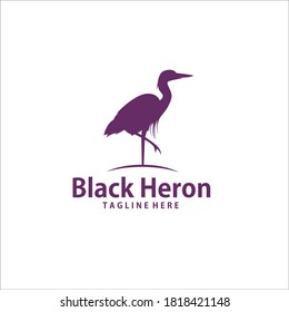 black crane stork heron egret bird silhouette vector logo icon