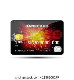 Black credit card - stock vector