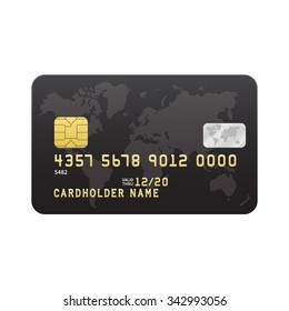 Black Credit card template isolated on white background. Vector illustration.