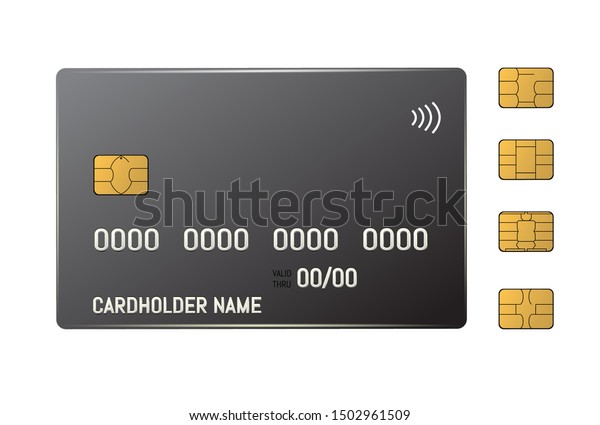 Black credit plastic card with emv chip. Contactless payment