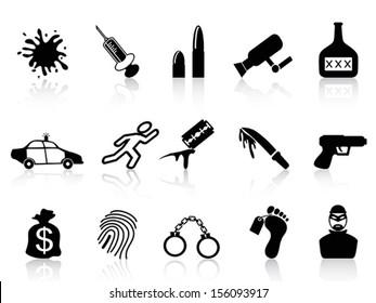black crime icons set