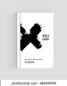 Black cross abstract design. Ink paint on brochure, Monochrome element isolated on white. Grunge banner paints. Simple composition. Liquid ink. Background for banner,card, poster, identity,web design.