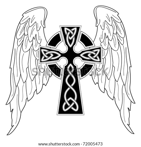 Black Cross With Wings On White