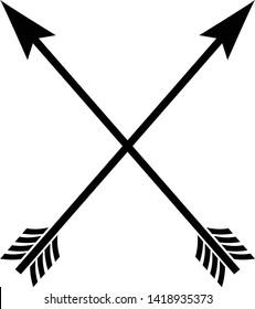 Black crossed arrow vectors.Archery icon. Archery symbol.