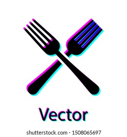Black Crossed fork icon isolated on white background. Cutlery symbol.  Vector Illustration