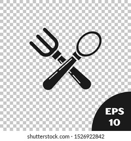 Black Crossed fork and spoon icon isolated on transparent background. Cooking utensil. Cutlery sign.  Vector Illustration