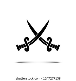 Black crossed pirate swords or knives icon isolated on white background. Vector illustration