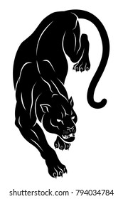 Black crouching panther. Vector illustration.