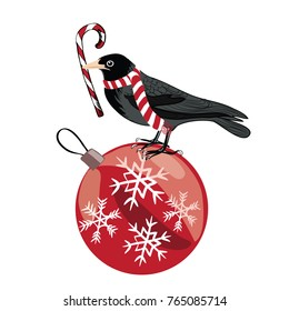 Black crow with Christmas scarf standing on the Christmas ball with Christmas candy in its beak. Vector illustration on white background