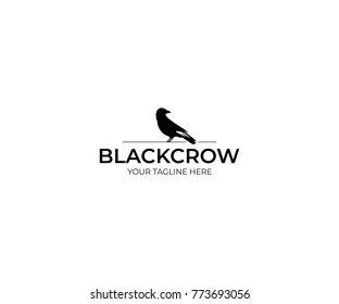 Black Crow Logo Template. Raven Vector Design. Bird Illustration