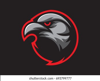 Black crow mascot design for logo. Sports branding. Crow head badge. Sport logo vector template