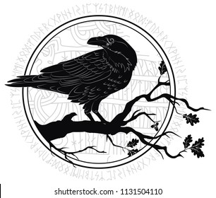 Black crow sitting on a branch of an oak tree, and Scandinavian runes, carved into stone, isolated on white, vector illustration