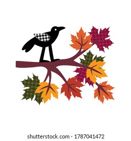 Black crow sitting on a branch of maple with colorful leaves. Vector illustration of autumn nature. Isolated drawing on a white background.